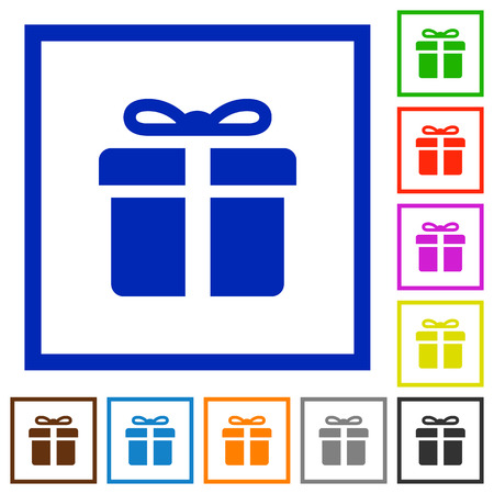 suprise: Set of color square framed gift box flat icons on white background