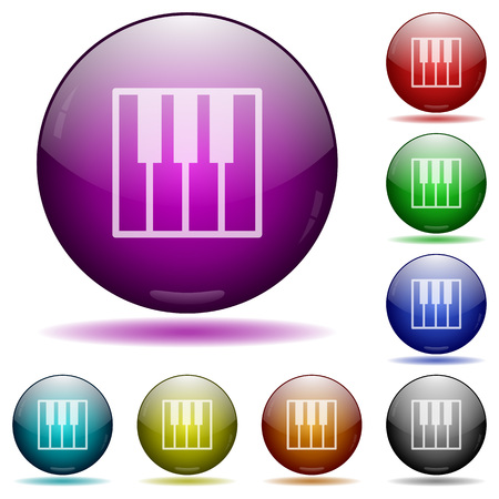 glass sphere: Set of color Piano keyboard glass sphere buttons with shadows. Illustration