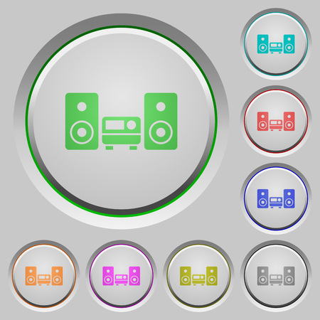 hifi: Set of color hifi sunk push buttons.