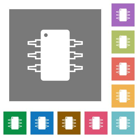 integrated circuit: Integrated circuit flat icon set on color square background.