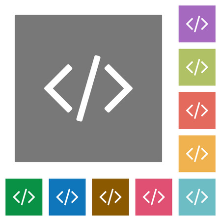 programming code: Programming code flat icon set on color square background. Illustration
