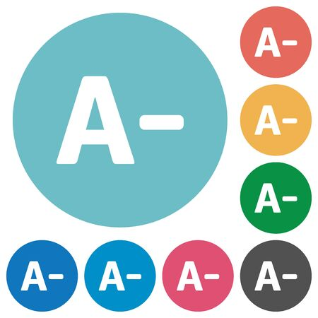 decrease: Flat decrease font size icon set on round color background.
