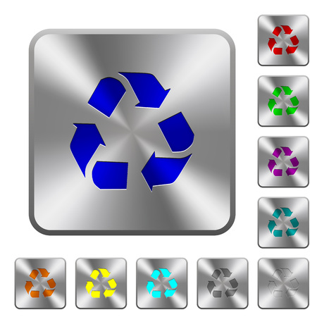 conservationist: Engraved recycling icons on rounded square steel buttons Illustration