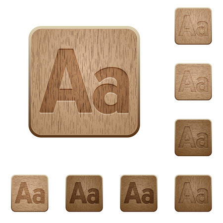 size: Set of carved wooden Font size buttons in 8 variations.