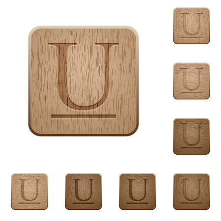 word processor: Set of carved wooden Underlined font buttons in 8 variations.
