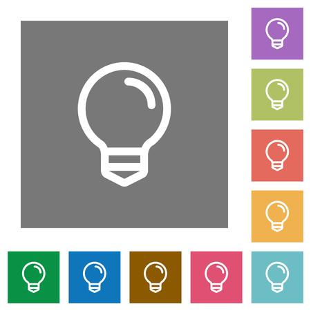lumen: Light bulb flat icon set on color square background. Illustration