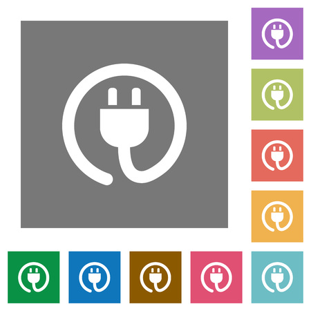 power cord: Power cord flat icon set on color square background.