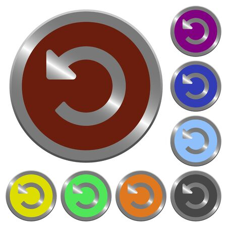 rebuild: Set of color glossy coin-like undo changes buttons. Illustration