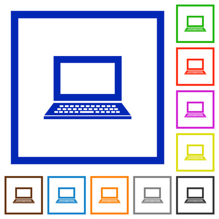 mobile application: Set of color square framed laptop flat icons on white background