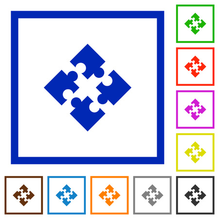 modules: Set of color square framed modules flat icons on white background
