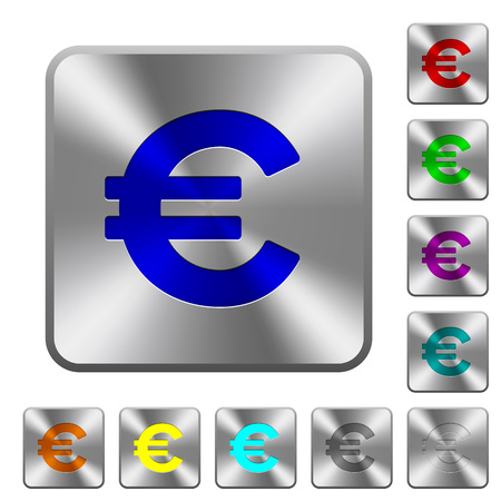 euro sign: Engraved euro sign icons on rounded square steel buttons