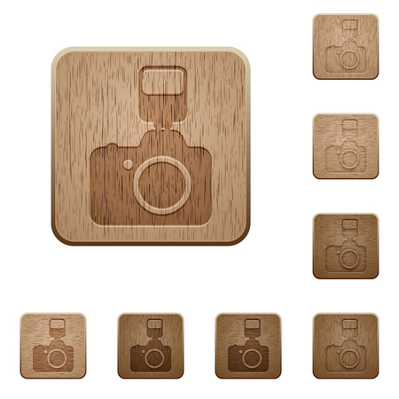 variations: Set of carved wooden camera buttons in 8 variations.