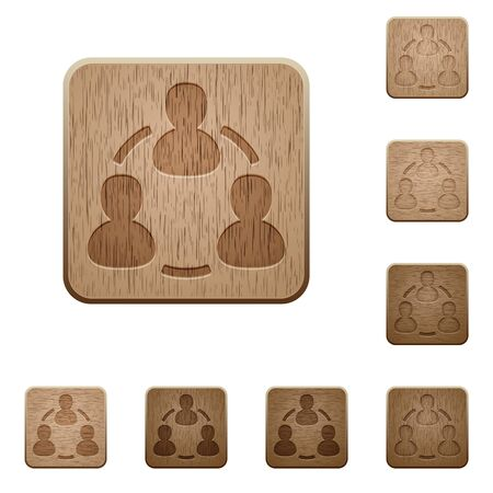 variations: Set of carved wooden online users buttons in 8 variations.