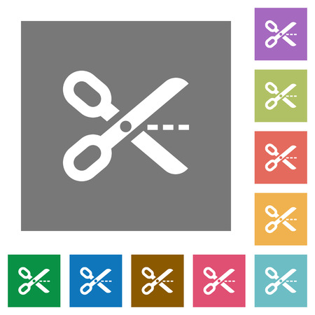to cut out: Cut out flat icon set on color square background.