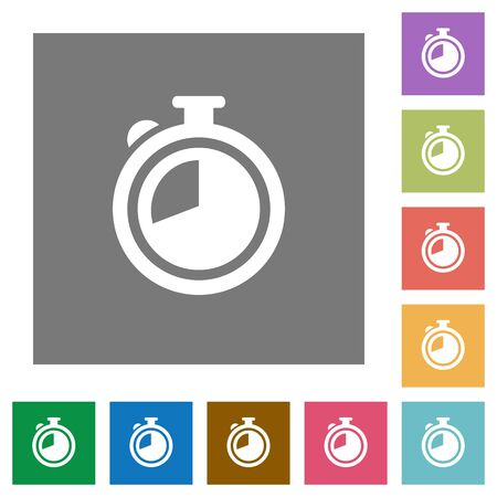 stopper: Timer flat icon set on color square background.
