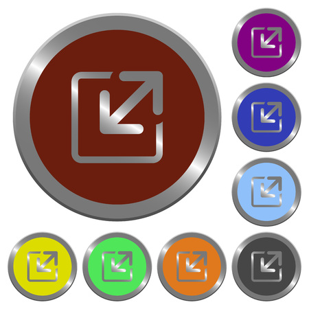 resize: Set of color glossy coin-like resize element buttons. Illustration