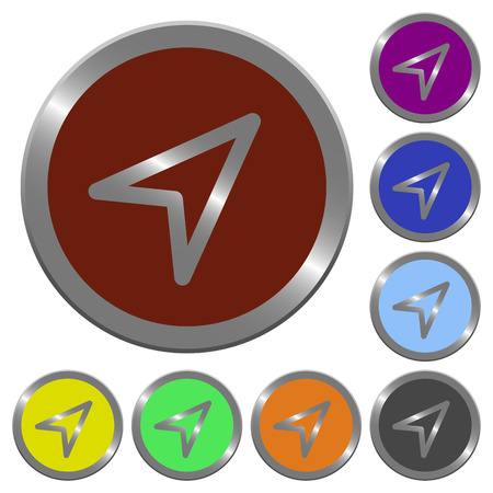 coinlike: Set of color glossy coin-like direction arrow buttons. Illustration