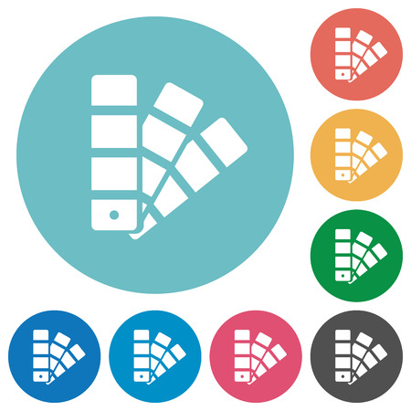 color swatch: Flat color swatch icon set on round color background.