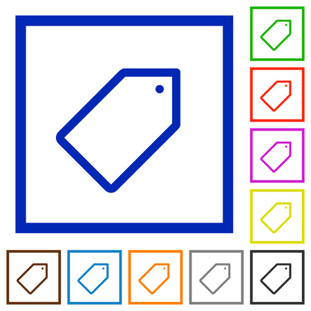 keywording: Set of color square framed tag flat icons on white background