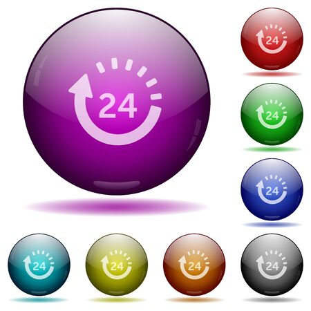 Set of color 24 hour delivery glass sphere buttons with shadows. Illustration