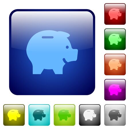 thrift: Set of color piggy bank glass sphere buttons with shadows. Illustration