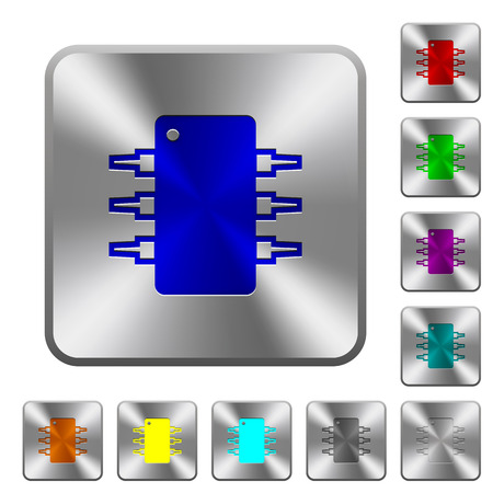 integrated circuit: Engraved integrated circuit icons on rounded square steel buttons