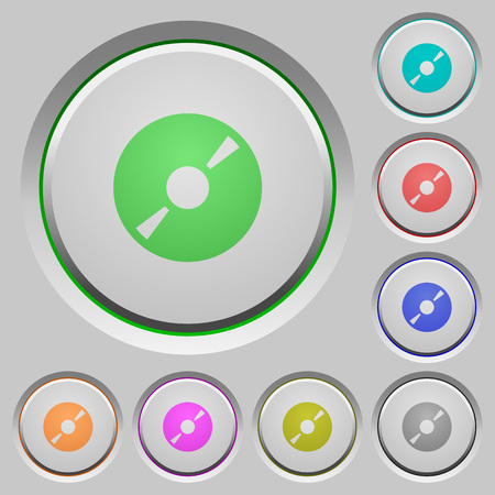 cd r: Set of color DVD sunk push buttons. Illustration