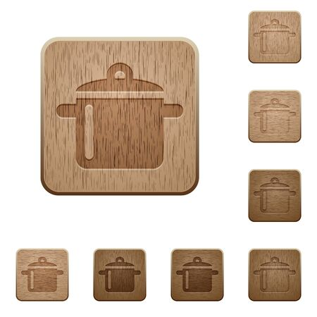 carved: Set of carved wooden cooking buttons in 8 variations.