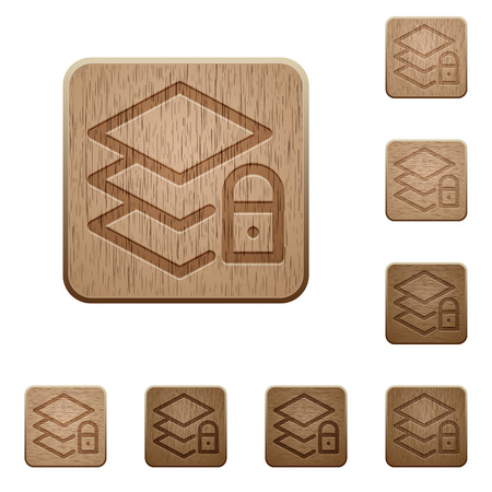 polished wood: Set of carved wooden locked layers buttons in 8 variations.