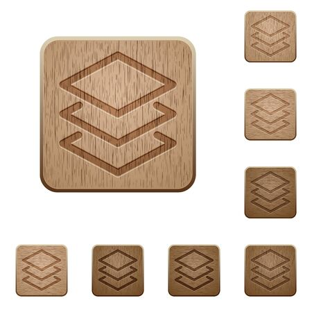 variations: Set of carved wooden layers buttons in 8 variations.