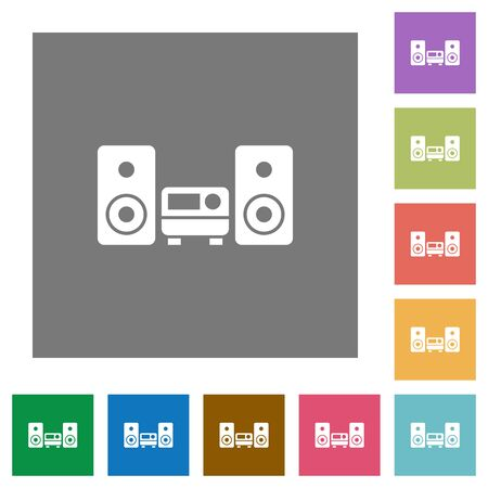 hifi: Hifi flat icon set on color square background.