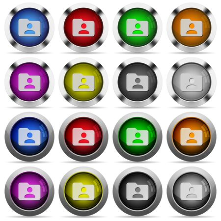 owner: Set of Folder owner glossy web buttons. Arranged layer structure. Illustration
