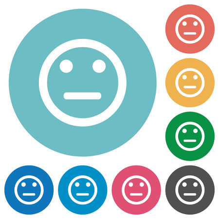 neutral: Flat neutral emoticon icon set on round color background.