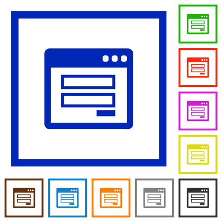 authorisation: Set of color square framed login panel flat icons on white background