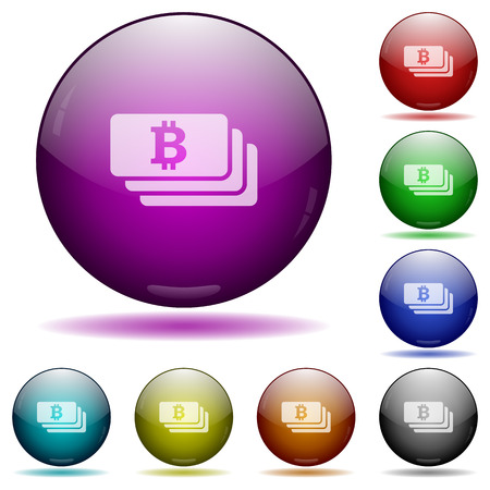 e money: Set of color Bitcoin banknotes glass sphere buttons with shadows. Illustration
