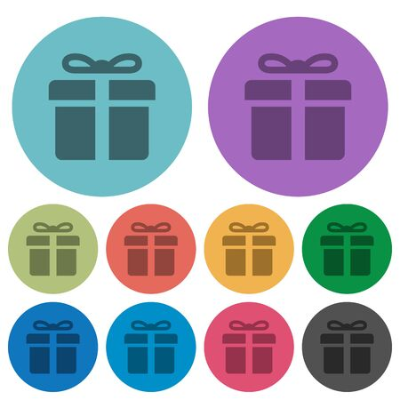 largess: Color gift box flat icon set on round background.