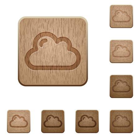 polished wood: Set of carved wooden cloud buttons in 8 variations. Illustration