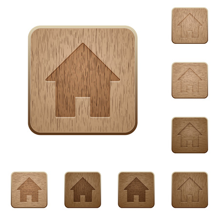 variations: Set of carved wooden home symbol buttons in 8 variations.