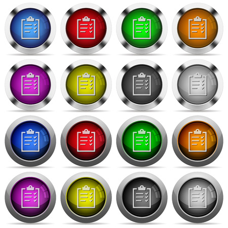 task list: Set of task list glossy web buttons. Arranged layer structure. Illustration