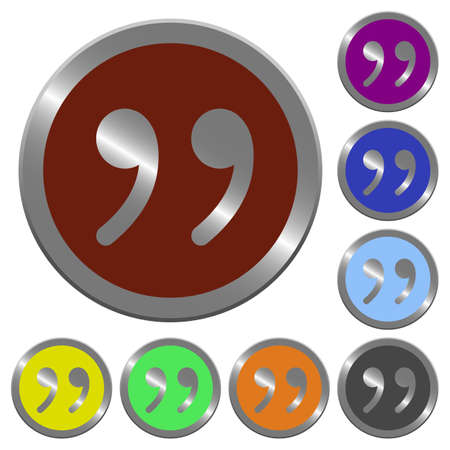 quoted: Set of color glossy coin-like quotation buttons. Illustration