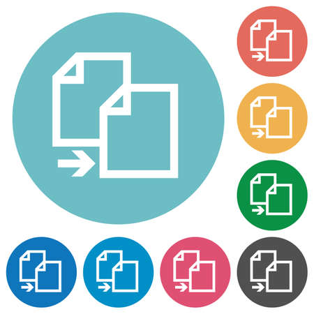 duplication: Flat copy icon set on round color background. Illustration