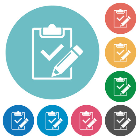 Flat fill out checklist icon set on round color background.