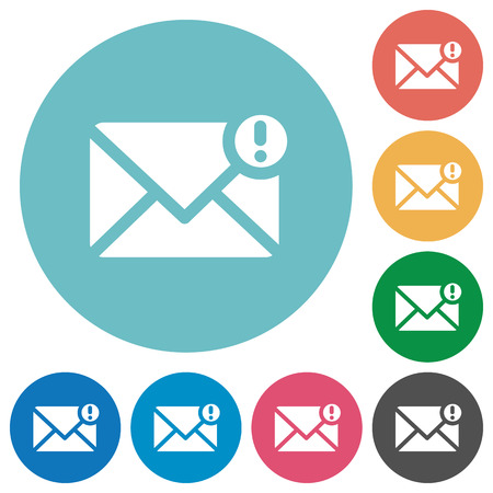 Flat important mail icon set on round color background.