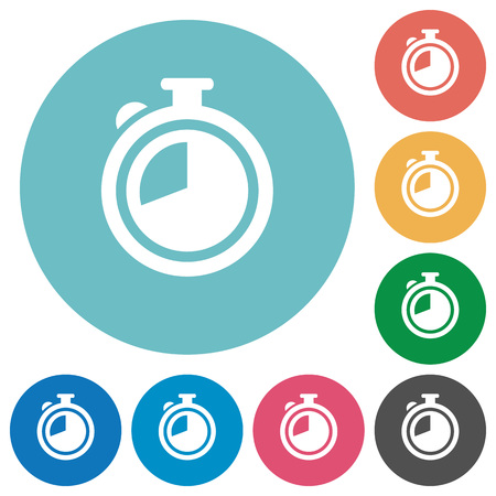 chronograph: Flat timer icon set on round color background. Illustration