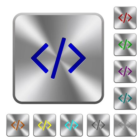 programming code: Engraved programming code icons on rounded square steel buttons