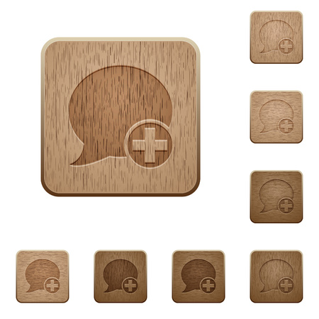 wooden post: Set of carved wooden Post blog comment buttons in 8 variations.