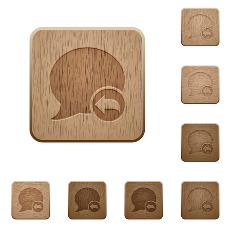 reply: Set of carved wooden Reply blog comment buttons in 8 variations.
