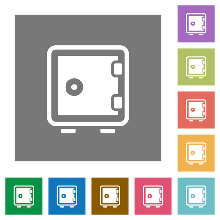 strong box: Strong box flat icon set on color square background. Illustration
