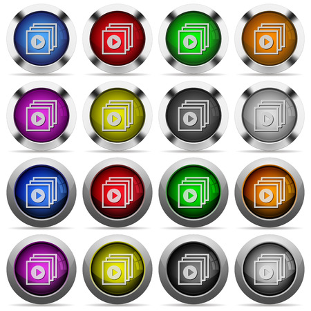 batch: Set of Play files glossy web buttons. Arranged layer structure.