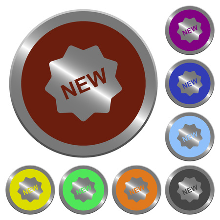 Set of color glossy coin-like new badge buttons.